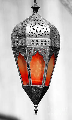 Photograph - Outdoor Patina Copper Red Hanging Antiqued Indian Lantern Lamp Color Splash Digital Art by Shawn O'Brien