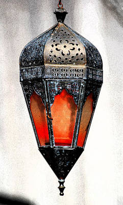 Photograph - Outdoor Patina Copper Red Hanging Antiqued Indian Lantern Lamp Ink Outlines Digital Art by Shawn O'Brien