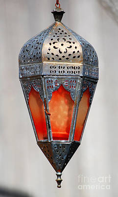 Photograph - Outdoor Patina Copper Red Hanging Antiqued Indian Lantern Lamp by Shawn O'Brien
