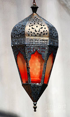 Photograph - Outdoor Patina Copper Red Hanging Antiqued Indian Lantern Lamp Watercolor Digital Art by Shawn O'Brien