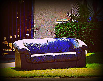 Photograph - Outdoor Seating Black Blue Leather by Kimberly-Ann Talbert
