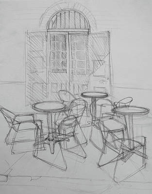 Bistro Drawing - Outdoor Seating - Pirates Alley - French Quarter by Jani Freimann