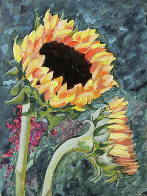 Outdoor Sunflowers Art Print