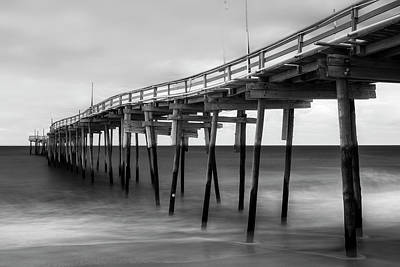 Photograph - Outer Banks Avon Fishing Pier In Black And White by Ranjay Mitra