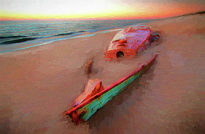 Painting - Outer Banks Beached Beauty At Sunrise Ap by Dan Carmichael