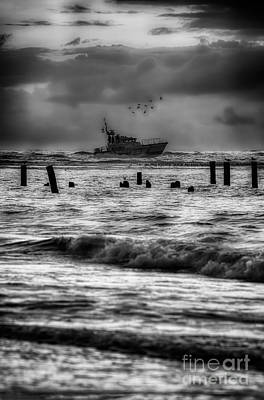 Photograph - Outer Banks Fishing Boat At Sunrise Bw by Dan Carmichael