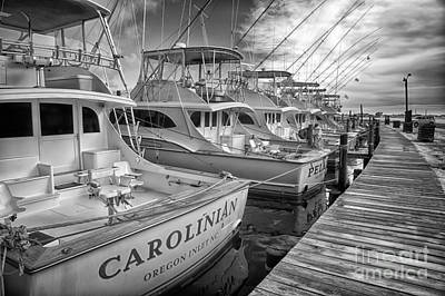 Photograph - Outer Banks Fishing Boats Waiting Bw by Dan Carmichael