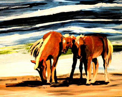 Painting - Outer Banks Horses by Katy Hawk