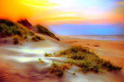 Sand Dunes Painting - Outer Banks Soft Dune Sunrise Ap by Dan Carmichael