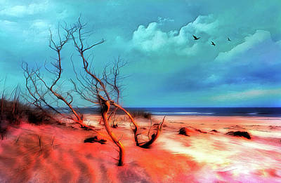 Digital Art - Outer Banks Stormy Flight At Sunrise Ap by Dan Carmichael