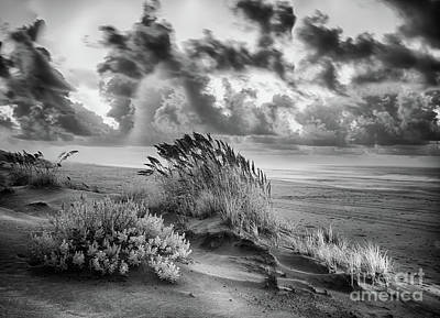 Photograph - Outer Banks - Stormy Summer Sunrise Bw by Dan Carmichael