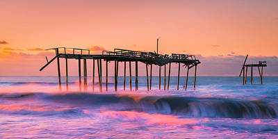 Photograph - Outer Banks Sunrise Over Frisco Fishing Pier Panorama by Ranjay Mitra