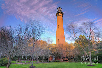 Painting - Outer Banks Winter At The Currituck Lighthouse Ap by Dan Carmichael
