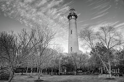 Photograph - Outer Banks Winter At The Currituck Lighthouse Bw by Dan Carmichael