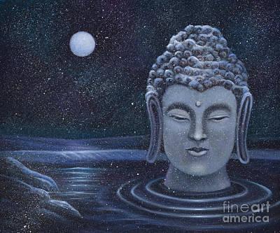 Painting -  Winter Buddha by Birgit Seeger-Brooks