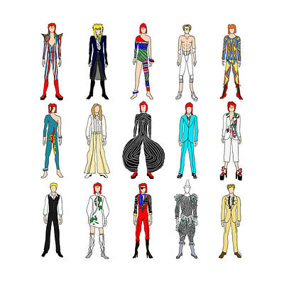 David Bowie Wall Art - Digital Art - Outfits Of Bowie by Notsniw Art