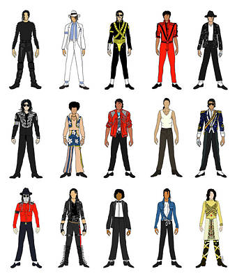 Jackson 5 Drawing - Outfits Of Michael Jackson by Notsniw Art