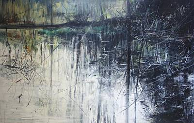 Reflecting Water Painting - Outflow  Mellerstain by Calum McClure