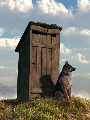 Breed Digital Art - Outhouse Guardian - German Shepherd Version by Daniel Eskridge
