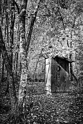 Photograph - Outhouse In The Forest Black And White by Debra and Dave Vanderlaan