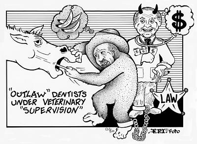 Drawing - Outlaw Cowboy Horse Dentists by Dawn Sperry