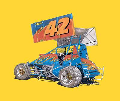 Outlaw Dirt Track Racer Art Print by Jack Pumphrey