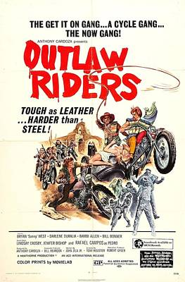 Painting - Outlaw Riders Tough As Leather Harder Than Steel Biker Movie Poster by R Muirhead Art