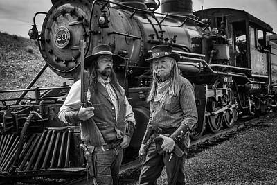 Gunfighters Photograph - Outlaws With Old Steam Train by Garry Gay