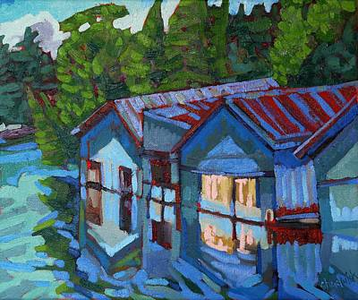 Charleston Houses Painting - Outlet Boat Houses by Phil Chadwick