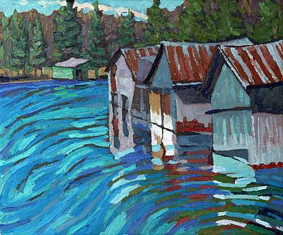 Thousand Islands Painting - Outlet Row Of Boat Houses by Phil Chadwick