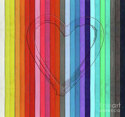 Outline Of A Heart Shape On Color Pastels Art Print
