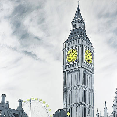 London Eye Painting - Outline Style Of Big Ben In London by Atelier B Art Studio