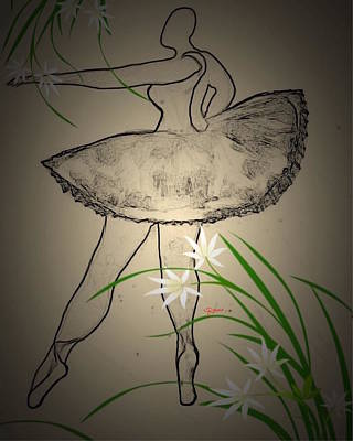 Outlinedballerina Art Print by Romaine Head