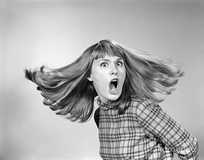 Raging Photograph - Outraged Woman With Hair Flying, C.1960s by H. Armstrong Roberts/ClassicStock