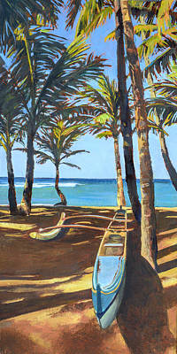 Oahu Painting - Outrigger Canoe At Mama's Fish House by Stacy Vosberg