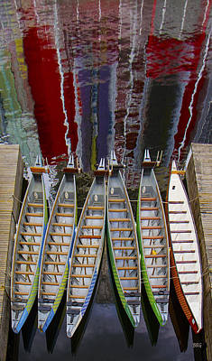 Photograph - Outrigger Canoe Boats And Water Reflection by Ben and Raisa Gertsberg