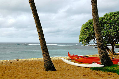 Photograph - Outrigger Canoe On Beach by Roger Mullenhour