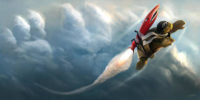 Turtle Digital Art - Outrunning The Clouds by Steve Goad