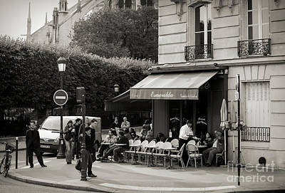 Photograph - Outside Cafe Corner Paris Sepia  by Chuck Kuhn