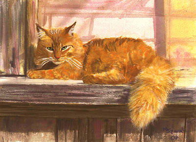 Painting - Outside Orange Tabby by Mary Jo Zorad