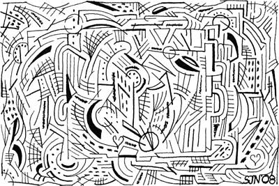 Maze Art Drawing - Outside The Box by Steven Natanson
