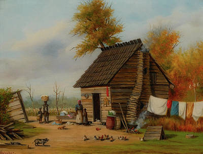Log Cabin Art Painting - Outside The Cabin by William Walker