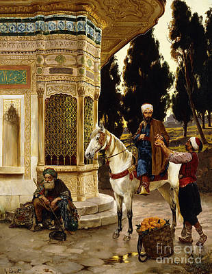 Turkish Painting - Outside The Palace by Rudolphe Ernst
