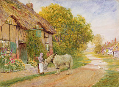 Women On Horses Painting - Outside The Village Inn by Arthur Claude Strachan