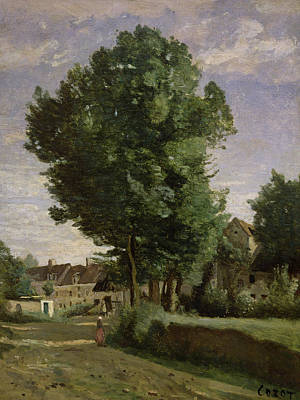 Outskirts Of A Village Near Beauvais Art Print by Jean Baptiste Camille  Corot