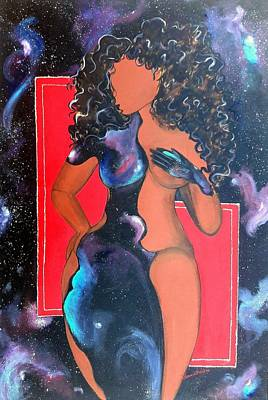 Young Woman Painting - Outta Dis World by Diamin Nicole