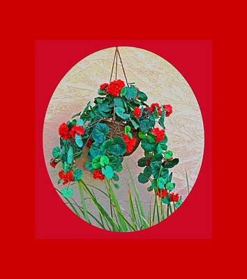 Oval Hanging Geraniums Basket With Red Background Art Print
