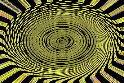 Digital Art - Oval Spin Yellow Green And Black  by Tom Janca