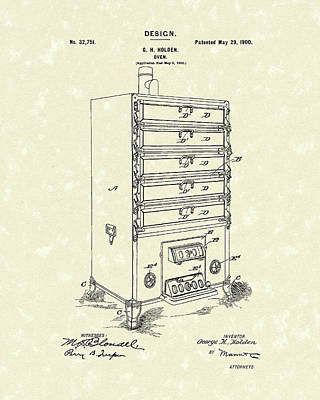 Breakfast Drawing - Oven Design 1900 Patent Art by Prior Art Design
