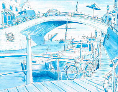 Painting - Over And Under The Bridge by Vic Delnore